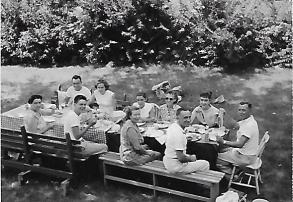 Mom, Rolf, Gertrude and Albert. Then Karl, Anna and his girls. Elizabeth and Bill with also that day. Al eating Mom's delights